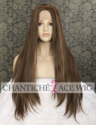 Chantiche Brown Straight Wigs for Black Women Brown Highlights Chocolate Colour Hair Fashion Looking Synthetic Hair Long Lace Front Wig with Parting Heat Resistant Fibre 60cm