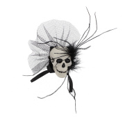 Large Plastic Skull Fascinator on Clip & Brooch Pin with Feathers, Ribbon & Lace