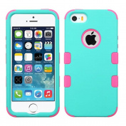 MyBat Cell Phone Case for Apple iPhone 5, iPhone Se - Retail Packaging - Teal Green/Electric Pink