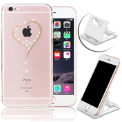 iPhone 6S Case,iPhone 6 Soft TPU Case,Vandot Bling Diamond Slim Fit Scratch Resistant Non-Slip Case Transparent Cover for Apple iPhone 6S 6 12cm -Clear Crystal Love Heart+Multi-Angle Phone Holder