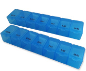 Pill Box (Blue) ~ 7 Day Storage Case, Weekly Medication Dispenser