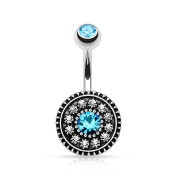 HBJ 1.6 mm x 10 mm N15805 Aqua Unisex Sign Belly Bar Stainless Steel Brass with Crystal