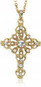 Symbols of Faith 14k Crystal Cross Pendant Necklace, 41cm