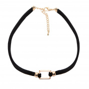 Spinningdaisy Perfect Square Double Line Velvet Choker Necklace
