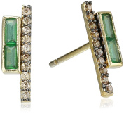 Tai 18k Gold-Plated Zircon and Pave-Crystal Stick Earrings