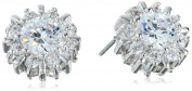 "CZ by Kenneth Jay Lane ""Basic"" Round Cubic Zirconia Pierced Pinwheel Halo Stud Earrings"