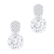 18k Gold Plated Cubic Zirconia Accent Solitaire Drop Earrings