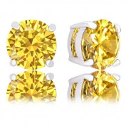 18k Gold Plated Round Cubic Zirconia Solitaire Stud Earrings