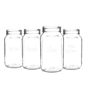 Cathy's Concepts Wedding Party Mason Jars (Set of 4), 770ml, Clear
