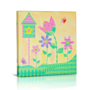 Green Frog Canvas Gallery Wrapped Art Decor, Flowers and Flutters