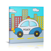 Green Frog Canvas Gallery Wrapped Art Decor, Police