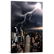 Artzee Designs Home Decor Ready to Hang Great Gift Idea Travel City Lightning Photography Wall Art, 90cm x 120cm , Multicolor