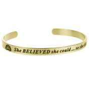 Qina C. She Believed She Could So She Did Adjustable Cuff Bracelet Wristband Bangle