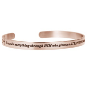 Qina C. I Can Do Everything Through Him Who Gives Me Strength Adjustable Cuff Bracelet Wristband Bangle