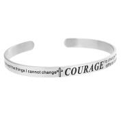 Qina C. Christian Bible Quote Serenity Courage wisdom Adjustable Cuff Bracelet Wristband Bangle