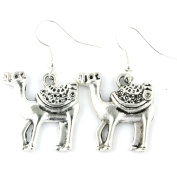 TFB - FUNKY LARGE SAFARI CAMEL STUNNING SILVER EARRINGS QUIRKY GIFT