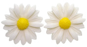 Bluebubble DAISY CHAIN 22mm White Daisy Earrings With Gift Box