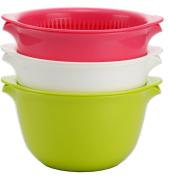 Inomata 6-Piece Coppo Colander and Mixing Bowl Set, 3-Colour