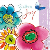 WL SS-WL-22141 Colourful Flowers Scatter Joy Canvas Wall Art with Butterfly, 20cm by 20cm