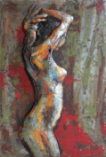 """Empire Art Direct """"Nude Study 7.6cm Mixed Media Hand Painted Iron Wall Sculpture by Primo"""