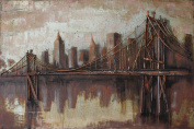 """Empire Art Direct """"Bridgescape"""" Mixed Media Hand Painted Iron Wall Sculpture by Primo"""