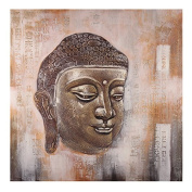 Essential Décor Entrada Collection Buddha Head Oil Painting, 39.5 by 100cm by 4.4cm