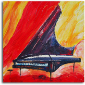 """Omax Decor Hand Painted """"Pianist in Absentia"""" Canvas Wall Art"""