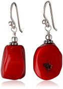 """Barse """"Basics"""" Red Bamboo Coral Drop Earrings"""