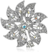 """Napier """"Classics"""" Silver-Tone Boxed Crystal Flower Pin"""