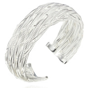 Sephla Silver Plated Weave Mesh Adjustable Bangle Bracelet,Women Fashion Jewellery