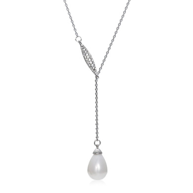 Cottontree fashion Y style Water Droplet necklace Shell Pearl Pendant jewelery, 38cm +5.1cm Extender