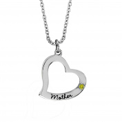 Esty & Me Stainless Steel Necklace w/ Birthstone Mother Heart Pendant