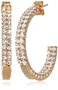 "Oroclone ""Crystal Set"" 30mm Plated Twin Row Inside Out Earrings"