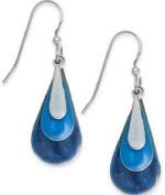 Silver Forest Earrings Blue Enamel Triple Teardrop