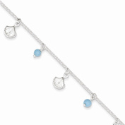 Best Designer Jewellery Sterling Silver Polished Shell and Turquoise w/ 2.5cm ext. Anklet