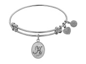 Angelica Collection Non-antique White Stipple Finish Brass Initial Expandable Bangle