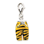 925 Sterling Silver Click-on CZ Enamel 3-D Tiger Pants w/ Lobster Clasp Charm - Amore La Vita Collection