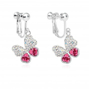 Latigerf Women Butterfly Screw Back Clip on Earring Non-Pierced Elements Crystal Red