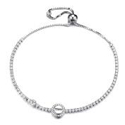 GTB1710 S925 Silver CZ Stones Round 2.5 Carats Sizeable Tennis Link Bracelet Rhodium Plated