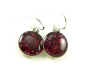 Orgone Energy Small Circle Dangle Earrings-Red Garnet in Antiqued Silver Finish