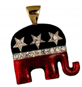 Enamel & Crystal Republican Logo Neckslide