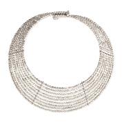 Zad Jewellery 'Goddess' 9 Line Metal Bead Collar Necklace, Silvertone