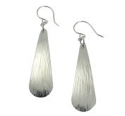 Chased Aluminium Silver Tone Long Tear Drop Earrings By John S Brana Handmade Jewellery Hypoallergenic