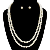 Two Strand Pearl Necklace Set Elegant 6mm Pearls Bridal Bridesmaid Jewellery Boxed