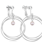 Latigerf Women Simulated-pearls Screw Back Clip on Earring Non-Pierced Circle White