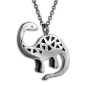 Mark Poulin Women's Pewter Necklace Brontosaurus Dinosaur 46cm Chain