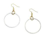 Chased Rim Aluminium Silver Tone Hoop Earrings By John S Brana Handmade Jewellery Hypoallergenic