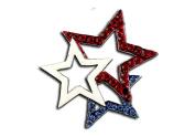 Patriotic Tri-Star Brooch/Pin