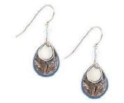 Silver Forest Silvertone and Blue Enamel Teardrop Layered Dangle Earrings