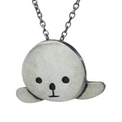 Mark Poulin Women's Pewter Necklace Seal 46cm Chain